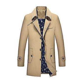 Allthemen الرجال & apos;ق الصلبة لابيل الرياح عارضة معطف الرياح واحد الصدر الغبار معطف الشتاء خارج ملابس معطف دافئ زائد حجم