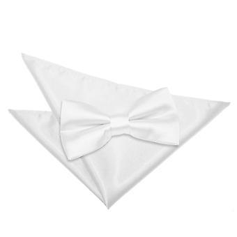 Zwykły biały krawat satyna idealna placu kieszeni zestaw