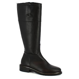 Leonardo schoenen vrouwen ' s handgemaakte laarsjes zwart kalf leder met kant zip