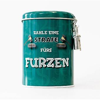 Money Box pieru laatikko turkoosi, painettu, valmistettu alumiinista, jossa riippulukko.