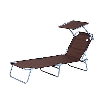 Outsunny Reclining Chair Folding Lounger Seat with Sun Shade Awning Beach Garden Outdoor Patio Recliner Adjustable (Brown)