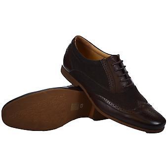 Voorkant schoenen Kingston textiel leer bruin schoen