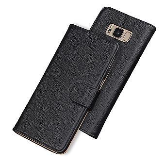Para Samsung Galaxy S8 Case,Fashion Wallet Cowhide Capa de couro genuína, preto