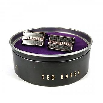 Ted Baker Roosted Black Carbon Fibre Cufflinks