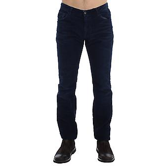 Costume National Blue Corduroy Slim Fit Pants Jeans