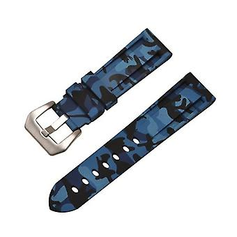 Резиновый ремешок для часов синий камуфляж с нержавеющей пряжкой размером от 20 мм до 24 мм