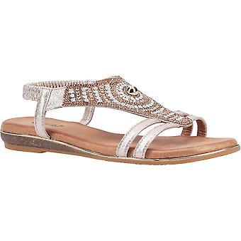 Divaz Womens Magpie Slip On Glitzy Summer Sandals
