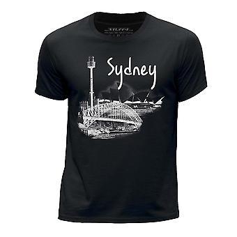 STUFF4 Pojan Pyöreä kaula T-paita/Sydney maamerkki luonnos/musta