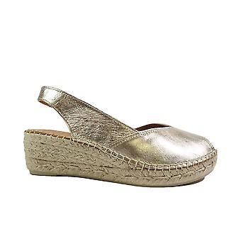 Toni Pons Bernia-P Platinum Gold Leather Womens Slingback Wedge Espadrille Shoes