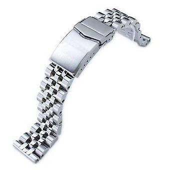 Strapcode watch bracelet 20mm angus jubilee 316l stainless steel watch bracelet straight end, brushed/polished, v-clasp
