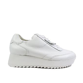 Paul Green 4946-00 White Leather Womens Lace Up Platform Trainers