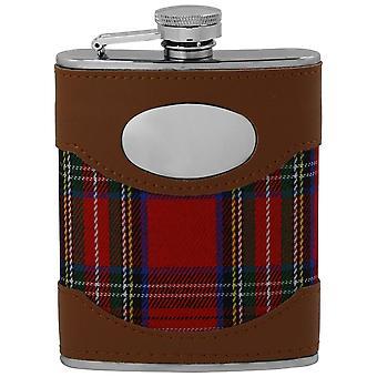 Écossais Tartan rouge & cuir revêtement en acier inoxydable Hip Flask Set - 6oz