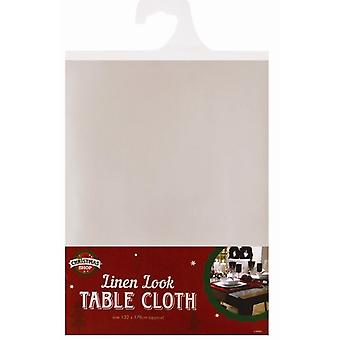 Christmas Table Cloth Linen Look - Cream - 132cm x 178cm
