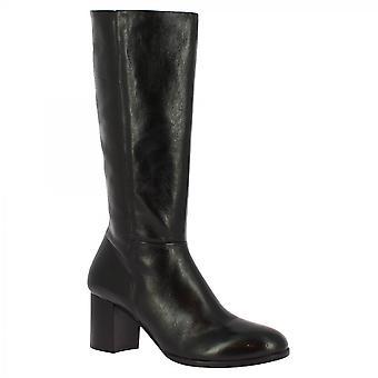 Leonardo Shoes Women's handgemaakte hakken mid kalf laarzen in zwart kalfsleer