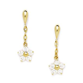 14k Yellow Gold CZ Cubic Zirconia Simulated Diamond Large Flower Shaped Drop Screw back Earrings Measures 20x6mm Jewelry