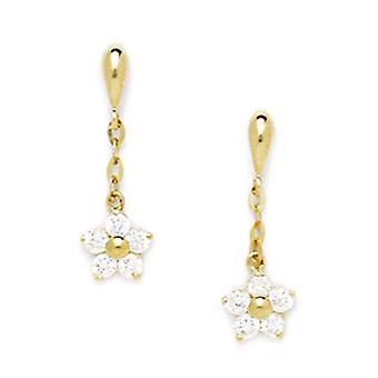 14k Yellow Gold CZ Cubic Zirconia Gesimuleerde Diamond Grote Bloemvormige Drop Screw terug Oorbellen maatregelen 20x6mm sieraden