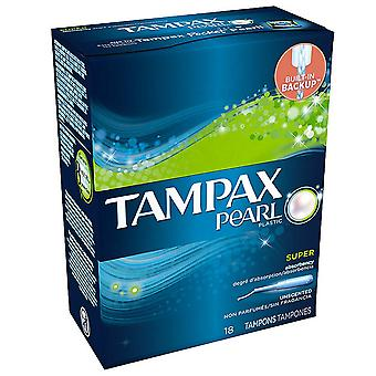Tampax pearl tampons, unscented, super, 18 ea