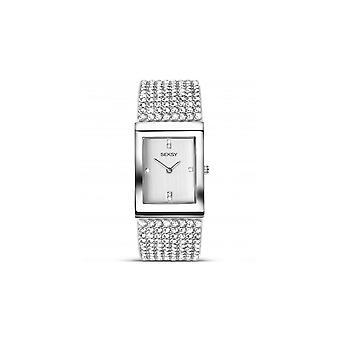 Seksy Ladies 2375 Krystal Rhodium-Plated Swarovski Crystals Bracelet Watch