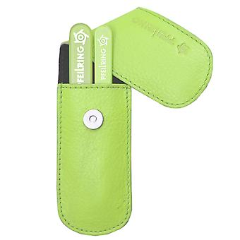 Arrow ring manicure case, nappa leather green, 2-piece assembly