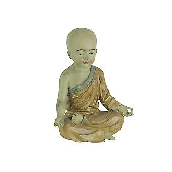 Lovely Aged Finish Child Monk Yoga Lotus Pose Statue 6.75 Inches High