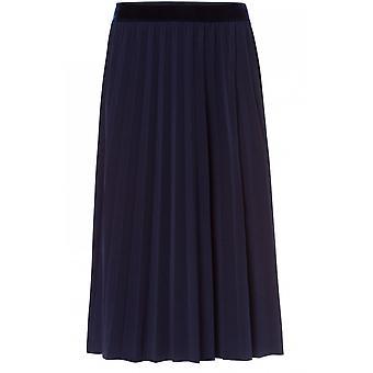 Olsen Navy Pleated Midi Skirt