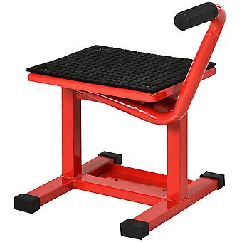 DURHAND 150KG Steel Motorbike Jack Lift Rubber Platform Crank Lift Manual Repair Clean Hoist Table Assist Off-Road Dirt Bike Stand Red - 39-46 H cm