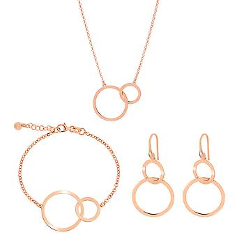Orphelia 925 Silver Set Bracelet + Necklace + Earrings Rose Gold with Circles