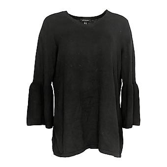 H by Halston Women's Sweater V-Neck Bell Sleeve Tunic Black A306582