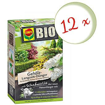 Sparset: 12 x COMPO BIO wood long-term fertilizer with sheep wool, 2 kg