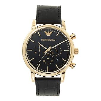 Armani Watches Ar1917 Gold & Black Leather Mens Watch