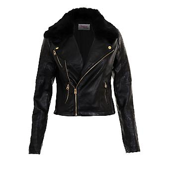 Ladies Detachable Fur Collar Women's Cropped Crop Biker PVC PU Leather Jacket