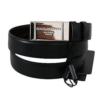 Dolce & Gabbana Black Leather Reversible Silver Buckle Belt BEL60379- 105