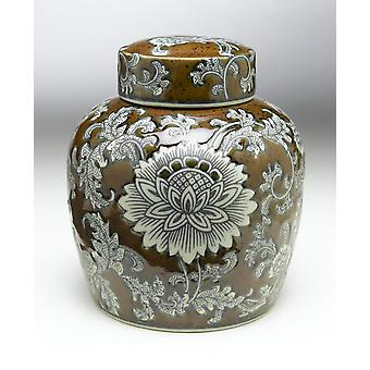 AA Importing 59750 9 Inch Brown & Grey Ginger Jar
