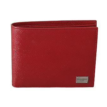 Red calfskin leather bill cardholder bifold men wallet
