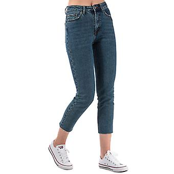 Women's Only Emily High Waist Straight Raw Jeans in Blue