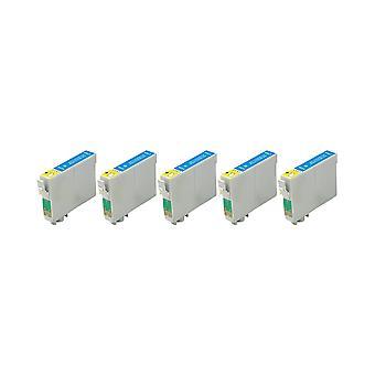 RudyTwos 5 x erstatning for Epson ugle blekk enhet Cyan kompatibel med Stylus Photo 79, 1400, 1410, 1500W, P50, PX650, PX660, PX700W, PX710W, PX720WD, PX730WD, PX800, PX800FW, PX810FW, PX820FWD, PX830FWD