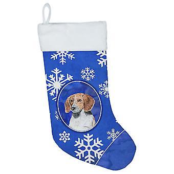English Foxhound Winter Snowflakes Christmas Stocking