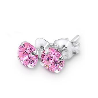 925 Sterling Silver Round Studs With Cubic Zirconia