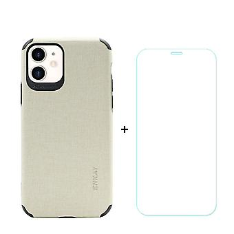Voor iPhone 11 Case Denim Texture Beige Cover & Tempered Glass Screen Protector