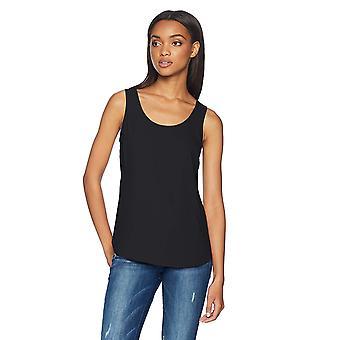 Daily Ritual Women's Shirt-Tail Scoop-Neck Sleeveless Shell, Zwart, 8