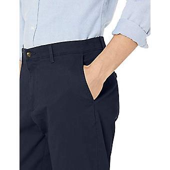 Essentials Men's Athletic-Fit Casual Stretch Khaki Pant, Navy, 34W x 34L