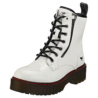 Mustang Lace Up Both Side Zip Womens Biker Boots in White