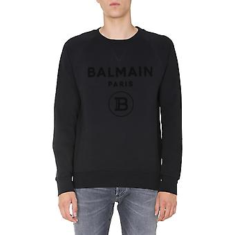Balmain Uh03279i3590pa Men's Black Cotton Sweatshirt