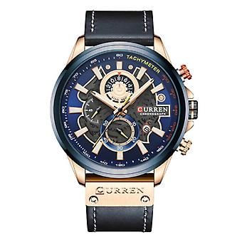 Montre Curren Anologue - Leather Strap Luxury Quartz Movement for Men - Stainless Steel - Blue
