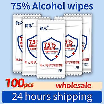 100pcs Disposable Wipes Individually Wrapped Portable 75% Alcohol Wipes For Antiseptic Cleaning Sterilization