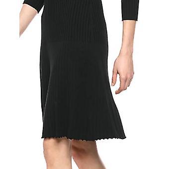 Lark & Ro Frauen's Langarm Flared Pullover Kleid, schwarz, Medium