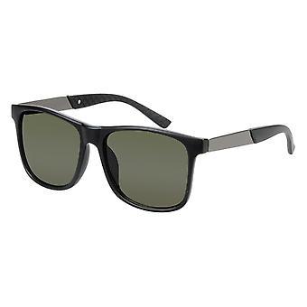 Sunglasses Unisex Black / Grey with Green Lens (17-407 P)