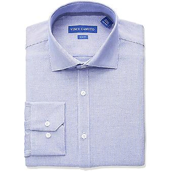 Vince Camuto Homme apos;s Slim Fit Diamond Dobby Dress Shirt, Cerulean, 16 32/33