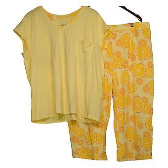 AnyBody Women's Pajama Set Cozy Knit Fruit Slice Printed Yellow A353790