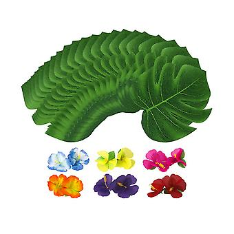 24PCS Artificiale Monstera Falso Foglia Verde - 12PCS Hibiscus Piccolo
